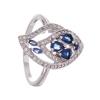 Серебряное кольцо Серена-Сильвер с синими и белыми фианитами арт. ТПКН.199ФЦ-