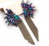 Серёжки женские Korea Angel Wing Feather Purple Crystal Earrings Fashion 2015 For Women