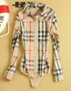 Женская рубашка-боди New fashion England Style Classical Plaid Long