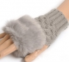 Женские митенки Womens Cute Faux Rabbit Fur Winter Warmer Knitted Fingerless