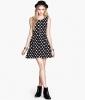 Женское трикотажное платье H&M Divided, черное в белый горох