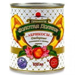"""Абрикосы """"Золотая долина"""" премиум отборные половинки в легком сиропе"""