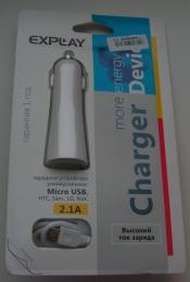 Автомобильное зарядное устройство Explay More Energy Micro USB 2.1A