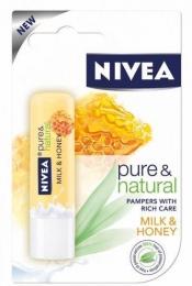 Бальзам для губ Nivea Pure&Natural Молоко и мед