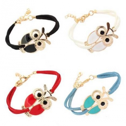 Браслет Yiwu Alan Technology New female retro jewelry owl animal imitation leather bracelet