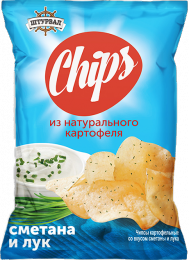 """Чипсы из натурального картофеля """"Штурвал"""" Chips Сметана и лук"""