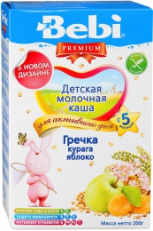 "Детская молочная каша Bebi Premium ""Гречка, курага, яблоко"""