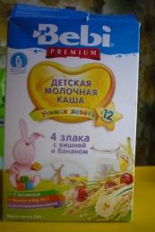 Детсккя молочная каша Bebi Premium 4 злака с вишней и бананом с 12 месяцев