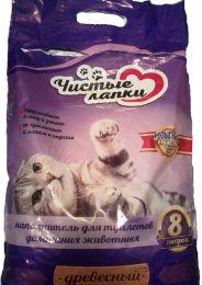 """Древесный наполнитель """"Чистые лапки"""" для кошек"""