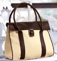Элегантная сумка бежевого и темно-коричневого цвета Yves Rocher