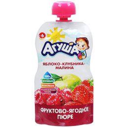 """Фруктово ягодное пюре """"Агуша"""" яблоко-клубника-малина"""