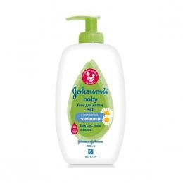 Гель для мытья 3 в 1 Johnson's baby с экстрактом ромашки для рук, тела и волос