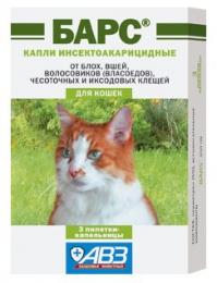 """Инсектоакарицидные капли для кошек АВЗ """"Барс"""""""