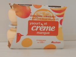 "Йогурт Auchan сливочный ""Манго"", 4,1%"