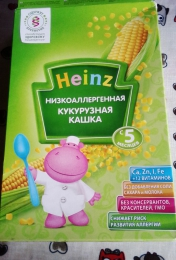 "Каша безмолочная сухая быстрорастворимая ""Низкоаллергенная кукурузная кашка"" Heinz"