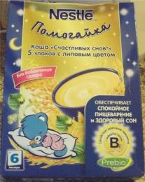 """Каша Nestle Помогайка """"Счастливых снов"""" 5 злаков с липовым цветом"""