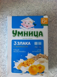 "Каша ""Умница"" Молочная 3 злака с абрикосом"