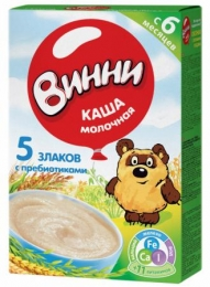 Каша молочная Винни, 5 злаков с пребиотиками