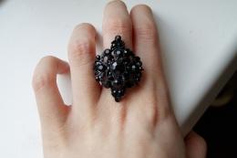 """Кольцо женское """"Clara Bijoux"""" черное с камнями"""