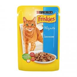 Корм консервированный полнорационный для взрослых кошек Purina Friskies в подливе с лососем
