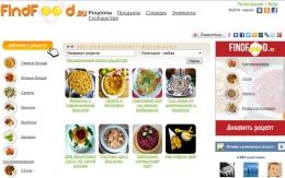 Кулинарный сайт Findfood.ru