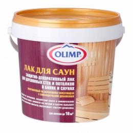 Защитно-декоративный лак Olimp для деревянных стен и потолков в банях и саунах