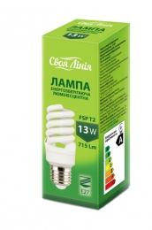 """Лампа энергосберегающая люминесцентная 13 W """"Своя линия"""" FSP T2"""