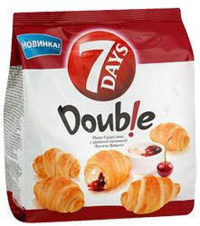 Мини круассаны 7 Days Double с двойной начинкой ваниль-вишня
