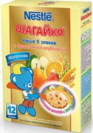 """Каша молочная Nestle """"Шагайка"""" 5 злаков с фруктами и клубникой"""