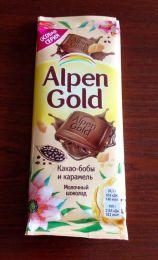 """Молочный шоколад Alpen Gold """"Какао-бобы и карамель"""""""
