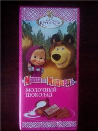 """Молочный шоколад """"Маша и Медведь"""" Фабрика имени Крупской"""