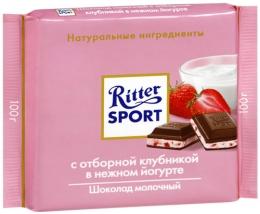 Молочный шоколад Ritter Sport с отборной клубникой в нежном йогурте
