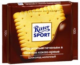 Молочный шоколад Ritter Sport со сливочным печеньем в нежном какао креме