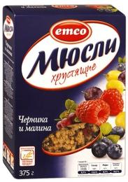 """Мюсли """"Emco"""" хрустящие Черника и малина"""