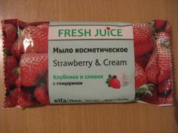 Мыло косметическое Fresh Juice Strawberry & Cream Клубника и сливки с глицерином