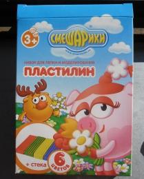 """Набор для лепки и моделирования Centrum Смешарики """"Пластилин + стека"""" 6 цветов Арт. 86213"""