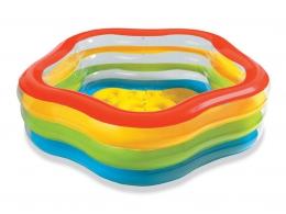 Большой детский бассейн с надувным полом Intex 56495