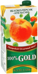 """Напиток сокосодержащий из яблока, персика и апельсина Gold """"Классик"""""""