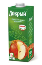 """Нектар """"Добрый"""" яблочный """"Деревенские яблочки"""" с мякотью"""