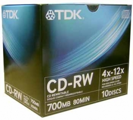 Перезаписываемый диск TDK High-Speed CD-RW 700 MB (80min) 4x-12x