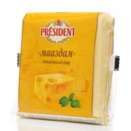 """Плавленый сыр """"Мааздам"""" President ломтики"""