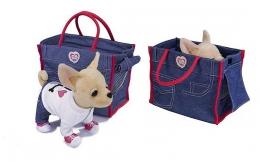 Плюшевая собака Чихуахуа Simba в джинсовой сумочке арт. 5894128