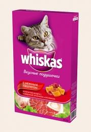 Вкусные подушечки Whiskas с нежным паштетом, аппетитное ассорти с говядиной, ягненком и кроликом