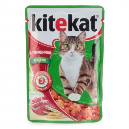 Полнорационный консервированный корм Kitekat для взрослых кошек с говядиной в желе