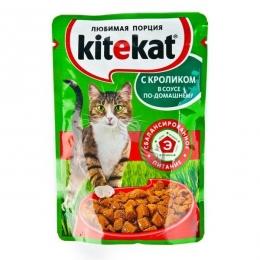 Полнорационный консервированный корм Kitekat с кроликом в соусе по-домашнему, для взрослых кошек