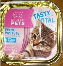 Полнорационный корм для кошек паштет Tasty Vital с лососем