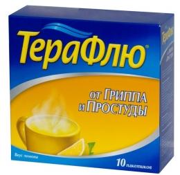 """Препарат от гриппа и простуды """"Терафлю"""" с лимоном"""