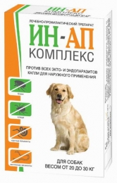 Препарат против всех экто- и эндопаразитов у собак «ИН-АП комплекс» вес от 20-30 кг
