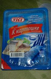 Пресервы рыбные Vici Сельдь Атлантическая «К картошке» охлажденная Филе кусочки в масле без кожи