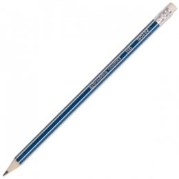 "Простой карандаш Brauberg ""Contract"", с ластиком, HB, синий корпус"